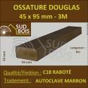 Montant d'Ossature 45x95mm Douglas Autoclave Marron Séché Raboté 3m
