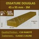 Montant d'Ossature 45x95mm Douglas Classe 2 Jaune Séché Raboté 3m