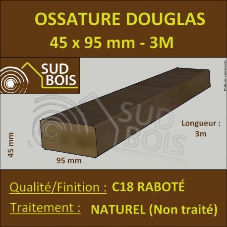 Montant d'Ossature 45x95mm Douglas Naturel Séché Raboté 3m