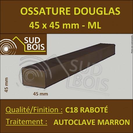 Tasseau/Carrelet 45x45 Douglas Autoclave Marron Choix 2 Prix/ml