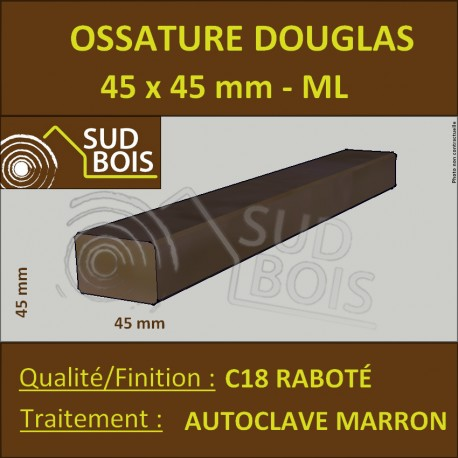 Tasseau / Carrelet 45x45 Sec Raboté Douglas Autoclave Marron Prix / ml