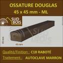 ◙ Carrelet / Bardage Claire Voie 45x45 Douglas Autoclave Marron Sec Raboté 1er Choix 45x45 au ml