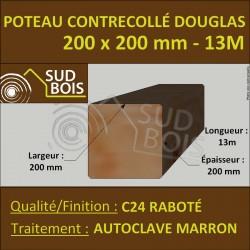 Poteau 200x200 Bois Contrecollé Douglas Autoclave Raboté 13m