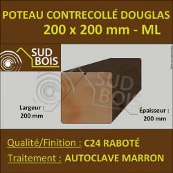 Poteau 200x200 Bois Contrecollé Douglas Autoclave Raboté Prix/ml