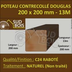 Poteau 200x200 Bois Contrecollé Douglas Naturel Raboté 13m