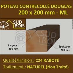 Poteau 200x200 Bois Contrecollé Douglas Naturel Raboté Prix/ml