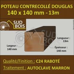 Poteau 140x140 Bois Contrecollé Douglas Autoclave Raboté 13m