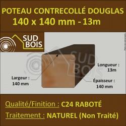 Poteau 140x140 Bois Contrecollé Douglas Naturel Raboté 13m