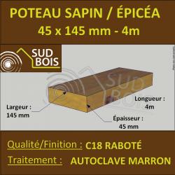 Poteau/Poutre Douglas Autoclave Marron Raboté 145x145mm en 4m