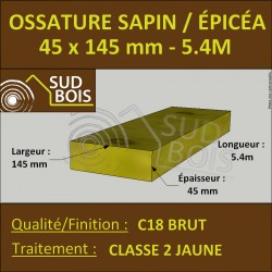 ♦ Montant d'Ossature Épicéa Traité Classe 2 Jaune 45x145mm 5.4m