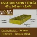 Montant d'Ossature Épicéa Traité Classe 2 Jaune 45x145mm 5.4m