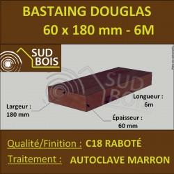 Bastaing 60x180 Bois Massif Abouté Douglas Autoclave Raboté 6.50m