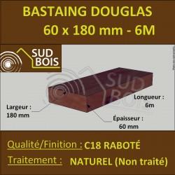 Bastaing 60x180 Bois Massif Abouté Douglas Naturel Sec Raboté 6m