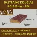 Bastaing / Madrier 80x220 Douglas Autoclave Marron Sec Brut Qualité Charpente 3m