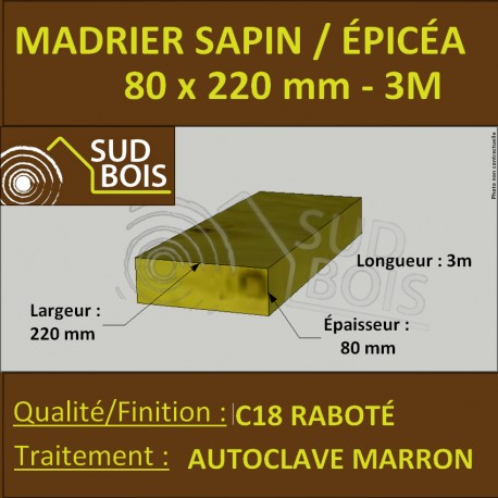 Bastaing / Madrier 80x220mm Sapin Coff Autoclave Marron Brut 3m