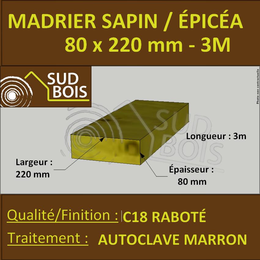 Bastaing / Madrier 80x220mm Sapin Coff Autoclave Marron Brut 3m - Sud Bois  : Terrasse, Bois Direct Scierie