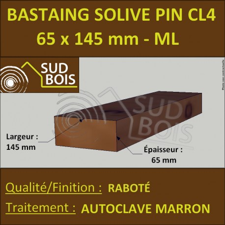 Bastaing Solive 65x145 Pin Raboté Traité Autoclave Cl.4 Prix / ml