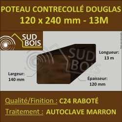 Panne 120x240 Bois Contrecollé Douglas Autoclave Raboté 13m