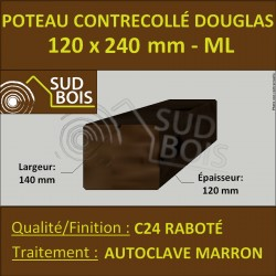 Panne 120x240 Bois Contrecollé Douglas Autoclave Raboté Prix/ml