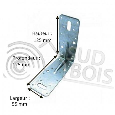 Équerre de fixation d'assemblage galvanisé 125x125x55mm Ep. 2.5mm