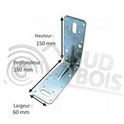 Équerre de fixation d'assemblage galvanisé 150x150x60mm Ep. 2.5mm