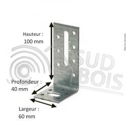 Équerre de fixation galvanisée 40x100x60mm Ep. 2.5mm