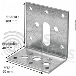 Équerre menuiserie de fixation INOX 40x100x60mm Ep. 2 mm
