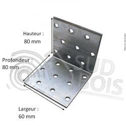 Équerre multitrous galvanisé d'assemblage 80x80x60 Ep. 2,5mm