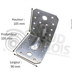 Équerre galvanisé d'assemblage avec renfort 105x105x90 Ep. 2 ou 2.5 mm