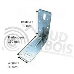 Équerre de fixation d'assemblage galvanisé 150x90x60mm Ep. 2.5mm