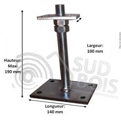 Pied de poteau galvanisé universel réglable en hauteur 50 à 200 mm