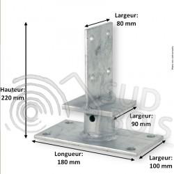 Support Pied de poteau âme intérieure double platine hauteur 100mm
