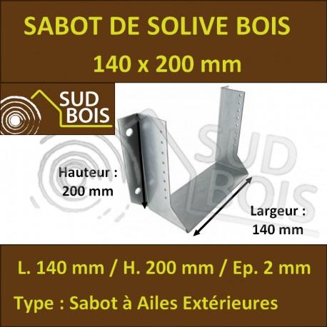 Sabot Universel de Charpente pour Solive Grande Dimension (mm) 140x200
