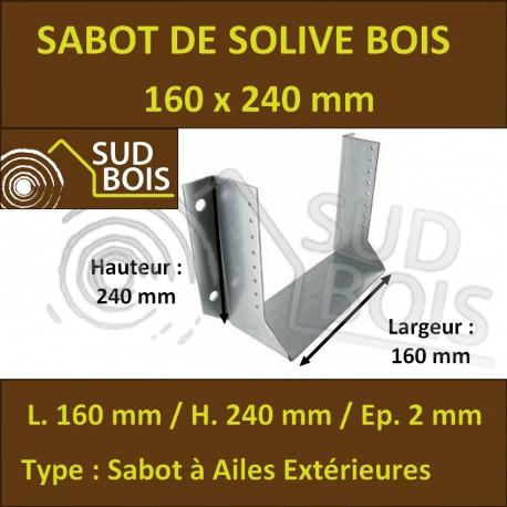 Sabot Universel de Charpente pour Solive Grande Dimension (mm) 160x240
