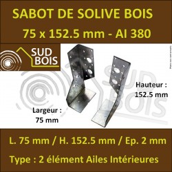 ♦ Sabot de Solive / Charpente à ailes intérieures 2 éléments 75x152.5