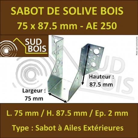 Sabot de Solive / Charpente à ailes extérieures 75x87.5 x 2 mm AE 250