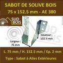 Sabot de Solive / Charpente à ailes extérieures 75x152.5 x 2 mm AE 380