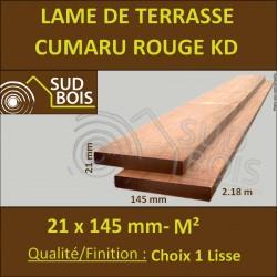 Lame de Terrasse Cumaru Rouge KD 21x145 mm Lisse Prix au m²