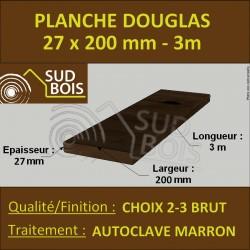 Planche Bois Douglas 27x200 Autoclave Marron Brut Choix 2-3 3M