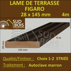 Lame de Terrasse Bois FIGARO 27x145 Douglas Autoclave Marron Striée 1er Choix 4m