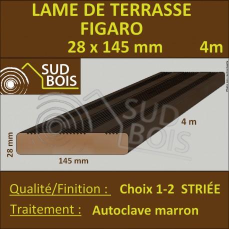 Lame Terrasse FIGARO 28x145mm Douglas Autoclave Marron Striée 4m