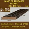 Lame Terrasse FIGARO 27x145mm Douglas Autoclave Marron Striée 4m