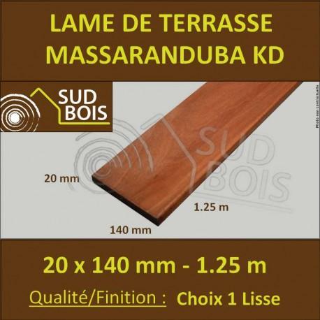 Lame Terrasse Massaranduba KD 20x140 Lisse 2 Faces 20x140 1.22m