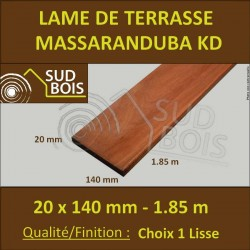 ♦ Lame Terrasse Massaranduba KD 20x140 Lisse 2 Faces 20x140 1.83m