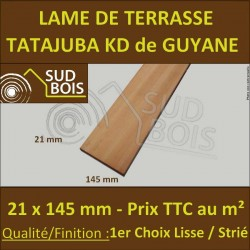 ♦ PROMO Lame de Terrasse Exotique Tatajuba KD 21x145 Prix au m²
