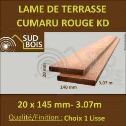 Lame de Terrasse en Cumaru Qualité KD 21x145 Lisse 2 Faces en 3.05m / 3m10