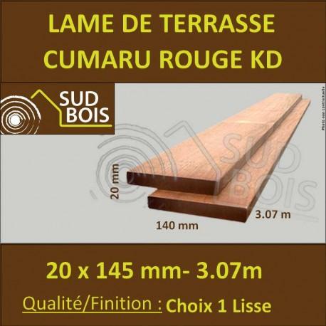 Lame de Terrasse Cumaru Rouge KD 21x145 Lisse 2 Faces en 3.07m
