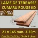 Lame de Terrasse en Cumaru Qualité KD 21x145 Lisse 2 Faces en 3.35m / 3m40