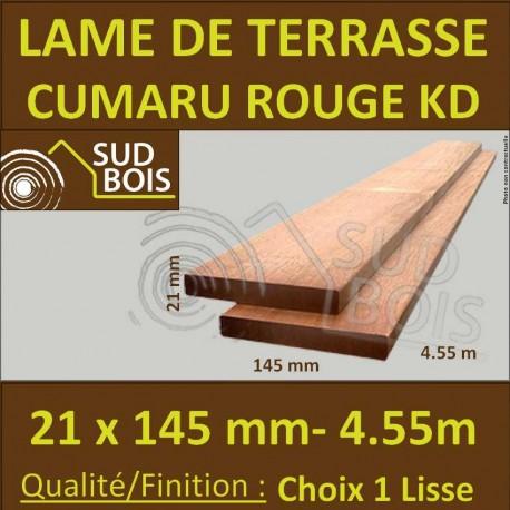 Lame de Terrasse en Cumaru Qualité KD 21x145 Lisse 2 Faces en 4.55m