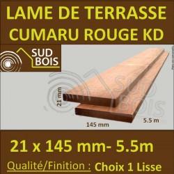 Lame de Terrasse en Cumaru Qualité KD 21x145 Lisse 2 Faces en 5.50m / 5m55